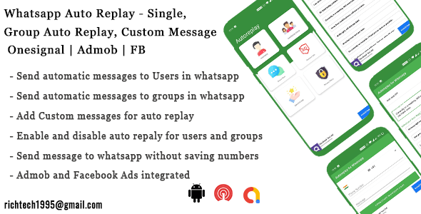 Whatsapp Auto Replay - Single, Group Auto Replay| Onesignal | Admob | FB | IN App